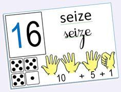 Des affichages pour aider les élèves de CP à se repérer en mathématiques. File numérique Écriture des nombres Maison des nombres, écritures additives ...