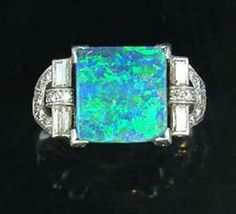 An art deco black opal and diamond ring, circa 1925.