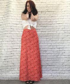 Vintage 70s Bandana Patchwork Print Maxi Hostess Skirt M Red Black White by PopFizzVintage on Etsy