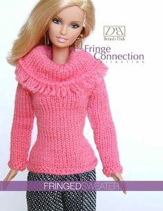 """Tricot modèle pour poupée de 11 1/2""""(Barbie): Pull frangé"""