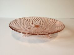 Vintage Pink Depression Glass Dish Pink Swirl by GirlGoesVintage