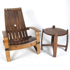 Wine Barrel Chair and Side Table