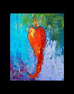 PEPPER Painting Canvas Giclee Still Life Modern Art Wall Art Pop Art Kitchen, Bar, Food Wall Hanging Wall Art