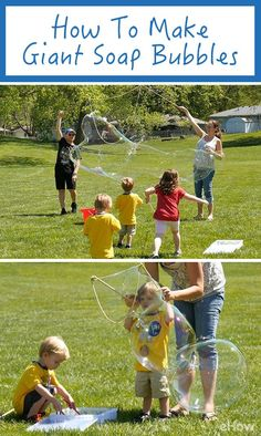 Get out this weekend and make GIANT soap bubbles with the kids! You already have all the things you need to make this happen, get the full how-to here: http://www.ehow.com/how_2366591_giant-soap-bubbles.html?utm_source=pinterest.com&utm_medium=referral&utm_content=freestyle&utm_campaign=fanpage