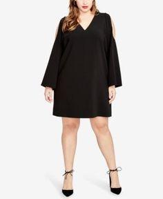 RACHEL RACHEL ROY CURVY PLUS SIZE COLD-SHOULDER SHIFT DRESS. #rachelrachelroy #cloth #