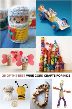 These are the coolest wine cork crafts for kids we found. These are so fun!