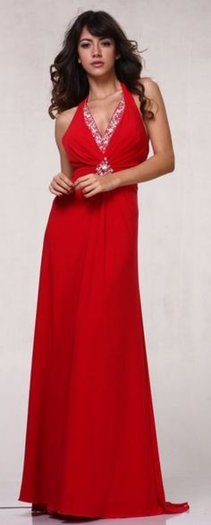 Plus Size Red Formal Dress Halter Rhinestone Beading Full Length Long V Neck $117.99