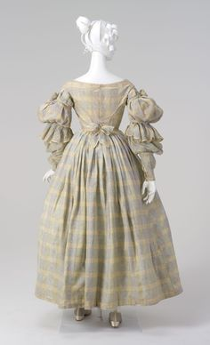 This day dress was first worn by Esther Arndell, the wife of explorer Captain William Hilton Hovell, in around 1837. Captain William Hovell (1786 - 1875), a sailor, explorer, and one of Australia's prominent early colonial settlers. In 1823, whilst exploring the land surrounding the Cumberland Pla...
