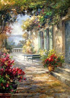 Pinturas de Sergey Minaev - (Russo) Série Jardins - Pinturas do A'Uwe