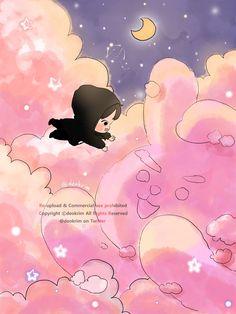 Cloud series with bts army kpop chibi desktop background phone wallpaper Fanart Bts, Jungkook Fanart, Bts Chibi, Bts Taehyung, Bts Bangtan Boy, Bts Love, Bts Drawings, Bts Fans, Bts Lockscreen