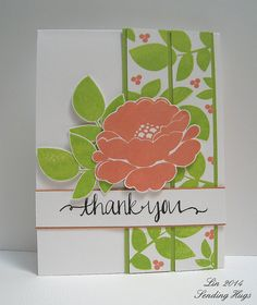 handmade card for Avery Elle Botanical challenge ... from Sending Hugs ... like the layered panel with a split panel of stamped paper topping a solid panel of a matching green ... luv the calligraphy THANK YOU ... great card!