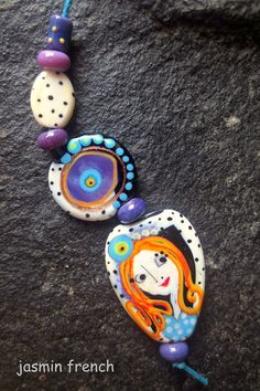 jasmin french  '  purple thoughts  ' lampwork focal beads set sra pendant