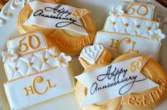 Anniversary Shortbread Sugar Cookie by TheTailoredCookie 50th Anniversary Cookies, 50th Wedding Anniversary, Anniversary Parties, Anniversary Ideas, Wedding Cookies, Wedding Desserts, Wedding Cake, Royal Icing Cookies, Shortbread Cookies