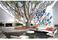 Outdoor Living. William Haines furniture and a Matisse in courtyard. Designers: William Haines and A. Quincy Jones.