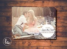 Lace Save the Date ~ Photo Save the Date ~ Vintage Save the Date ~ Save the Date ~ Printed Invitations ~ DIY PRINTABLE