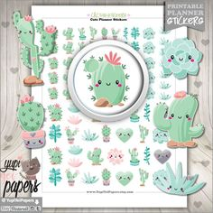 On Etsy - Cactus Stickers, Planner Stickers, Printable Planner Stickers, Succulent Stickers, Cute Stickers, Planner Accessories, Digital Stickers