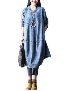 O-Newe Plus Size Women Loose Long Sleeve Denim Dress