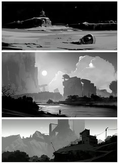 ArtStation – Sketches, Andrei Kotnev – Art Drawing Tips Landscape Sketch, Landscape Concept, Fantasy Landscape, Landscape Art, Environment Sketch, Bg Design, Concept Art Tutorial, Composition Design, Digital Painting Tutorials