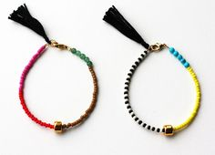 Friendship Bracelet - Bracelet with Tassel - Color block Bracelet - Layering Bracelet - Gold Gem Bracelet