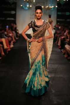 Lakmé Fashion Week – Vikram Phadnis at LFW WF 2014 - tie dyed and beaded sari. Love