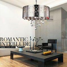 Modern Lampshade Chandelier Ceiling Lamp Pendant Light Crystal Lighting Fixture   eBay