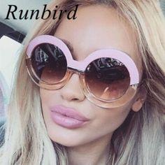 48724db4b4 Oversized Big Round Frame Sunglasses Women Luxury Sunglasses Brand Designer  Circle Vintage Retro Sun Glasses Female