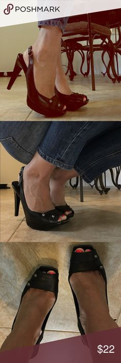 BCBG Generation peep toe heels 👠👠 Black Partially leather peep toe heels. Buckles around the ankle with stretch band. Very comfortable heel. Has a very nice thick sole on the bottom for slip prevention. The heel is about 5 inch high. BCBGeneration Shoes Heels