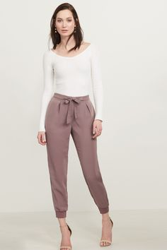 Prettiest pants ever. Satin Jogger Pant with Knit Cuff Jogger Pants Outfit Dressy, Jogging, Satin Joggers, Pearl Underwear, Women's Fashion Dresses, Autumn Fashion, Ski Fashion, Work Fashion, Casual Outfits