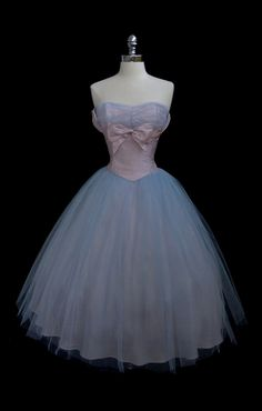1950's Blue Tulle Prom Dress