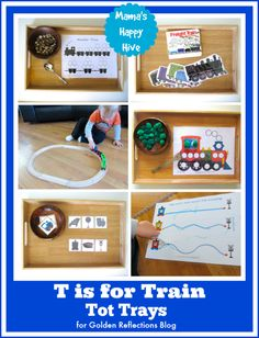 T is for Train Tot Trays, montessori inspired tot school trays, part of the A-Z's of Sensory Play for Kids series. Train Preschool Activities, Preschool Schedule, Preschool Special Education, Preschool Curriculum, Kids Learning Activities, Alphabet Activities, Preschool Ideas, Homeschooling, T Is For Train