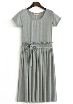 Grey Pleated Drawstring Round Neck Cotton dress