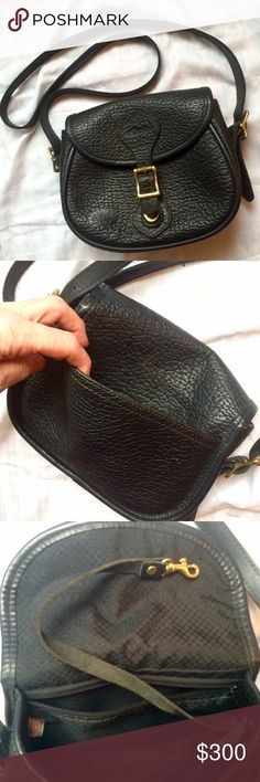 "J. W. Hulme Co. Leather handbag Classic Medium Legacy handbag in pebbled black. Made in the U.S.A.  Quality leather. 9""W x 6.5""H x 2.75""D. Strap drop length 18-22"" . One main compartment with saddle flap entry. Quick release turn lock under buckle. Back exterior slip pocket. Interior zippered wall pocket. Detachable/adjustable leather shoulder strap, solid brass hardwear, fully lined.   Excellent condition-see interior strap for hooking on keys/etc.-leather slightly worn? Gorgeous bag J.W…"