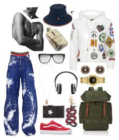 """""""Adventure Time"""" by princealejandro on Polyvore featuring Versace, Dsquared2, Givenchy, Yves Saint Laurent, Master & Dynamic, Vans, Gucci, Valentino, San Diego Hat Co. and men's fashion"""
