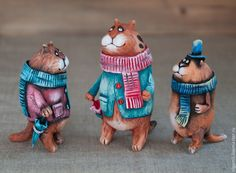 Купить Три богатыря - кот, котик, зонтик, смешной подарок, прикольная игрушка, Керамика, акрил