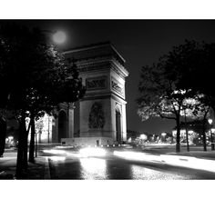 "Paris Prints - Paris photography, Paris decor, Paris landmarks, Paris photos, night - ""Triumph"" - 8x8, 8x10 Fine Art Photograph B or Sepia. $25.00, via Etsy."