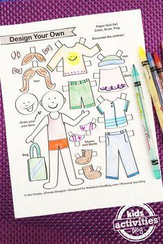 Design your own paper dolls // Crea tus propios muñecos de papel #paperdolls #printable #kids