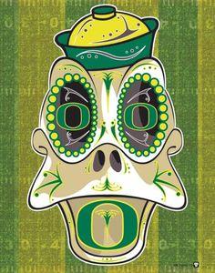 University of Oregon Duck Sugar Skull Print