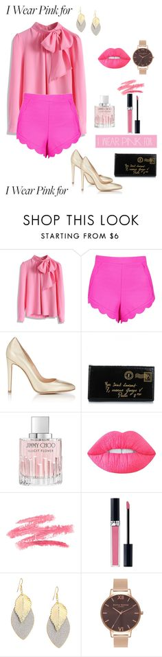 """I wear pink for a good cause"" by danielle-vladila-nicolae ❤ liked on Polyvore featuring Chicwish, Boohoo, Gianvito Rossi, Yves Saint Laurent, Jimmy Choo, Lime Crime, Christian Dior, Olivia Burton and IWearPinkFor"
