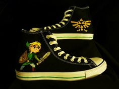 Legend of Zelda Link Custom Converse High-top Painted Canvas Shoe. I NEED These...