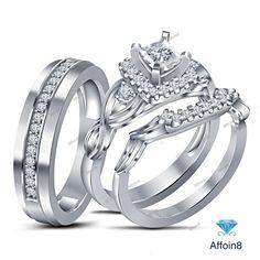 1.20 CT Princess Cut D/VVS1 Diamond 925 Silver His/Her Trio Engagement Ring Set