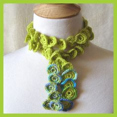 Crocheted Necklace Under the Sea Flora Mermaid Lariat.