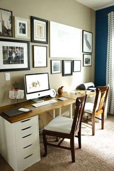 Pretty Dubs: Office Update, I like the two ikea desks with stained tops put together this way