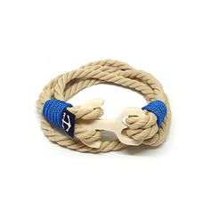 Yellow and White Rope Wrap Bracelet Bronze Anchor Bracelet Surfer Bracelets, Beach Bracelets, Bracelets For Men, Handmade Bracelets, Nautical Bracelet, Nautical Jewelry, Marine Rope, Rope Jewelry, White Rope