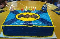 Homemade Batman Cake: I used a 12X16 cake pan and made a double layer cake. This Batman cake was huge! In the middle I had raspberry filling and made a cream cheese frosting