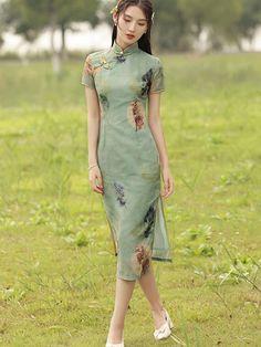 2021 Green Printed Modern Qipao / Cheongsam Dress