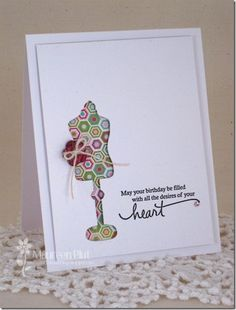 Love the paperbacked negative. And the cute button detail. Card Making Designs, Card Designs, Card Birthday, It's Your Birthday, Sewing Cards, Dress Card, Butterfly Cards, Card Sketches, Paper Piecing