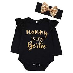 "10332a51a4d0 Newborn Baby Girls Clothes Floral ""Mommy is My Bestie"" Bodysuit Romper  +Headband Baby"
