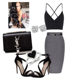 """""""Yass!!!"""" by kayla-daniels on Polyvore featuring Topshop, Carvela, Yves Saint Laurent and Kevin Jewelers"""