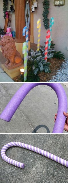 Candy Canes from Pool Noodles | Click Pic for 21 DIY Christmas Outdoor Decorations Ideas | Front Porch Christmas Decorating Ideas for Outside