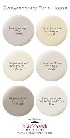 Paint Colors for Modern Farm House Interior Design Contemporary farm house interior paint colors by Benjamin Moore Farmhouse Paint Colors, Paint Colors For Home, Paint Colours, Paint Color Schemes, Neutral Colors, Modern Paint Colors, Furniture Paint Colors, Modern House Colors, Country Paint Colors